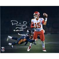 """Patrick Mahomes Signed Kansas City Chiefs """"Lefty Throw"""" 16x20 Photo Inscribed """"18 NFL MVP"""" (Fanatics Hologram) at PristineAuction.com"""
