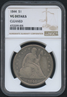 1844 $1 Seated Liberty Silver Dollar (NGC VG Details)