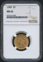 1900 $5 Five Dollars Liberty Head Half Eagle Gold Coin (NGC MS 62)