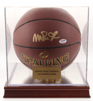 Magic Johnson Signed NBA Basketball with Display Case (PSA COA)