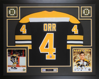 Bobby Orr Signed Boston Bruins 35x43 Custom Framed Jersey (PSA & GNR COA)