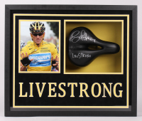 """Lance Armstrong Signed Bicycle Seat 5.5x21.5x25.5 Custom Framed Shadow Box Display Inscribed """"Livestrong"""" (JSA ALOA)"""