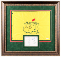 Arnold Palmer, Jack Nicklaus & Gary Player Signed Augusta National Golf Club Masters Tournament 25.25x27.25 Custom Framed Card & Flag Display (JSA LOA & PSA LOA)
