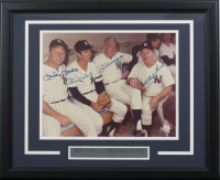 New York Yankees 16x20 Custom Framed Photo Display Signed by (4) with Mickey Mantle, Billy Martin, Joe DiMaggio and Whitey Ford (JSA LOA)