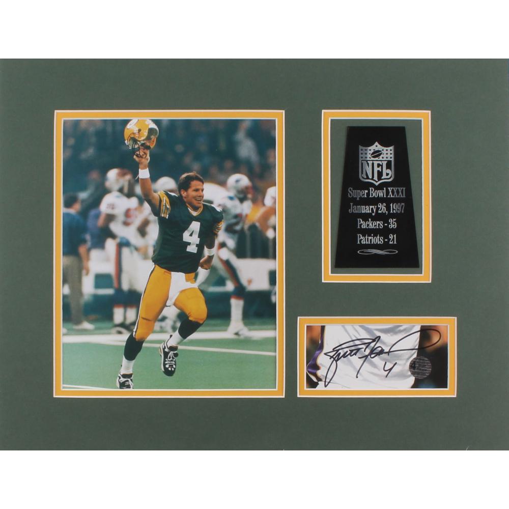 24259c9489f Brett Favre Signed Green Bay Packers 14x18 Custom Matte Photo Display (Favre  Hologram)