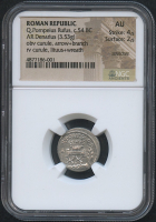 54 BC Original Roman Republic - Q. Pompeius Refus - AR Denarius Coin (NGC AU) at PristineAuction.com
