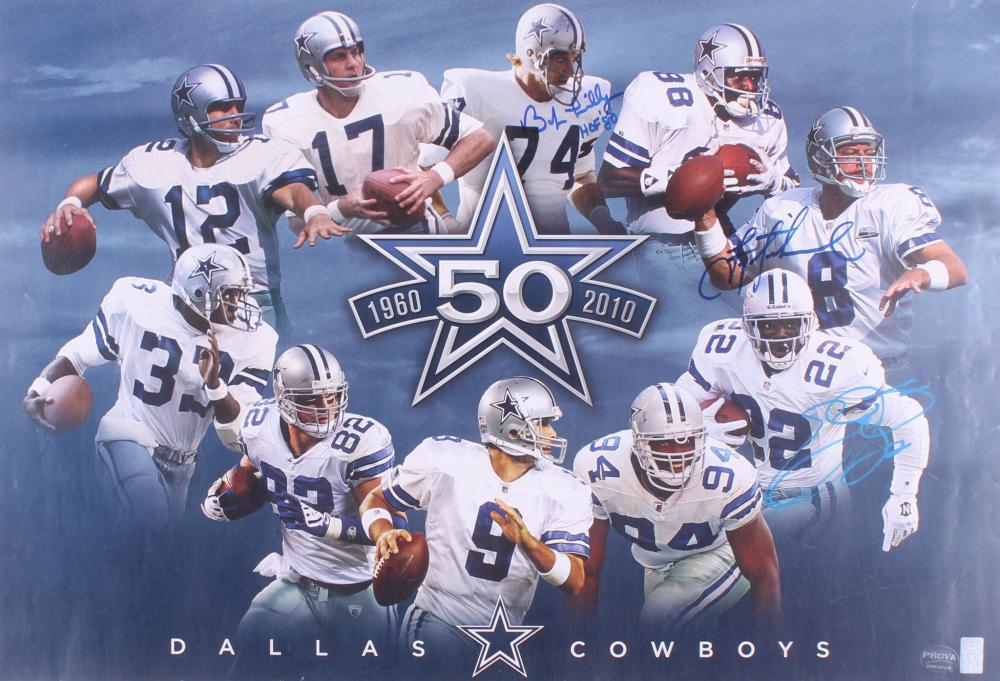 815453a1127 Bob Lilly, Troy Aikman, & Emmitt Smith Signed Dallas Cowboys 50 Year  Anniversary 19x28