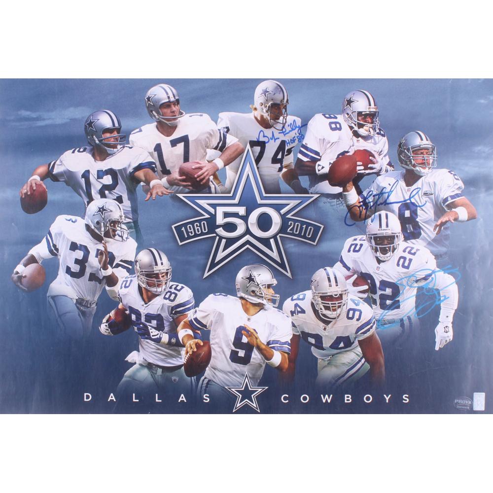 aae3ffa1ce9 Bob Lilly, Troy Aikman, & Emmitt Smith Signed Dallas Cowboys 50 Year  Anniversary 19x28 Poster Inscribed