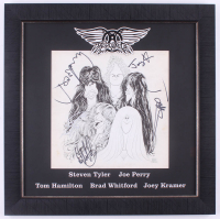 "Aerosmith ""Draw The Line"" 21.5x21.5 Custom Framed Album Cover Display Signed by (5) with Steven Tyler, Joe Perry, Joey Kramer, Brad Whitford, & Tom Hamilton (JSA LOA) at PristineAuction.com"