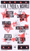 Columbia Nashville LE 13.25x21.75 Poster Signed by (6) with Jessica Simpson, Gretchen Wilson, Montgomery Gentry, Miranda Lambert, Christian Kane, & Keith Anderson (JSA COA)