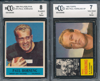 Lot of (2) BCCG Graded Paul Hornung Football Cards with 1964 Philadelphia #74 (BCCG 8) & 1962 Topps #64 (BCCG 7)