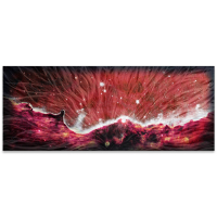 """Celestial Landscape Red 48"" 1x19x48 Original Abstract Art by Helena Martin at PristineAuction.com"