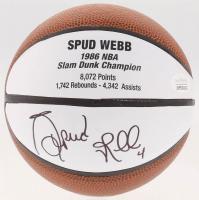 Spud Webb Signed 1986 Slam Dunk Champion Mini Basketball (JSA COA)