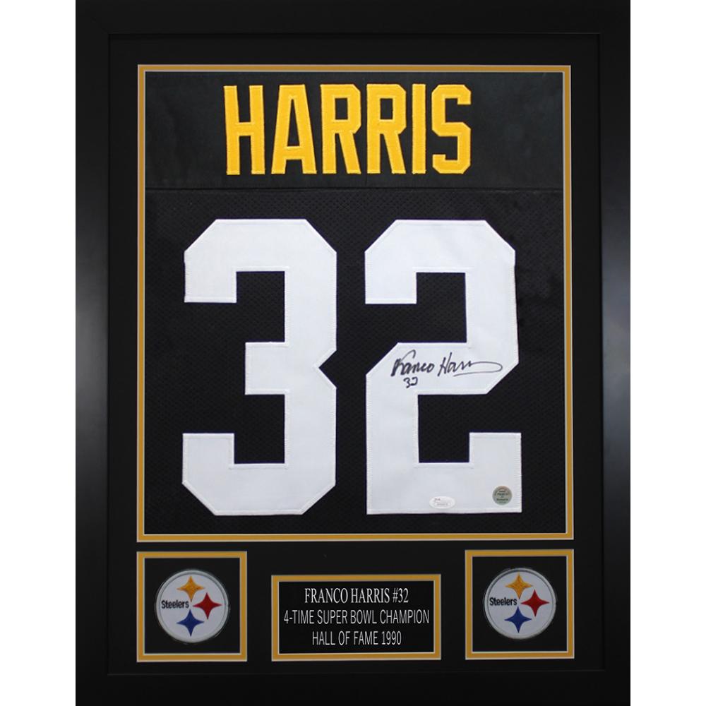 a0fb20fb8d4 Franco Harris Signed Pittsburgh Steelers 24x30 Custom Framed Jersey (JSA  COA & Harris Hologram)