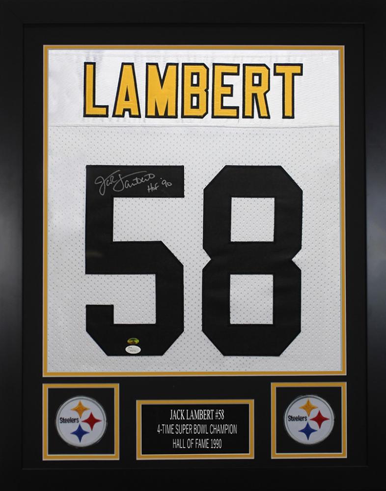 56f21a7ca7b Jack Lambert Signed Pittsburgh Steelers 24x30 Custom Framed Jersey (JSA COA  & Lambert Hologram)