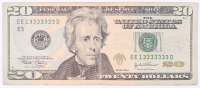 "Seven-In-A-Row ""Fancy Serial Number"" 2004 $20 Twenty Dollars Federal Reserve Note"