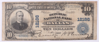1902 $10 Ten Dollars U.S. National Currency Large Bank Note - The Republic National Bank of Dallas, Texas