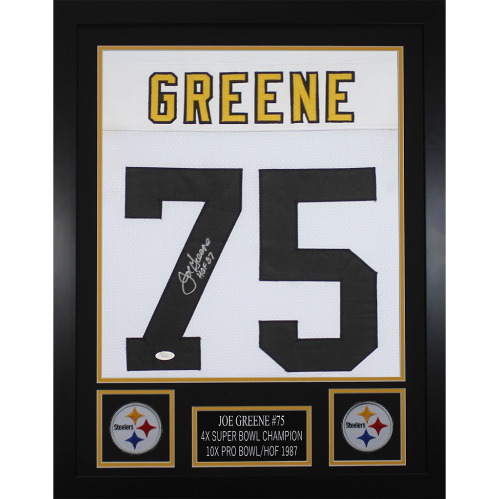 1f66a245979 Joe Greene Signed Pittsburgh Steelers 24x30 Custom Framed Jersey Inscribed