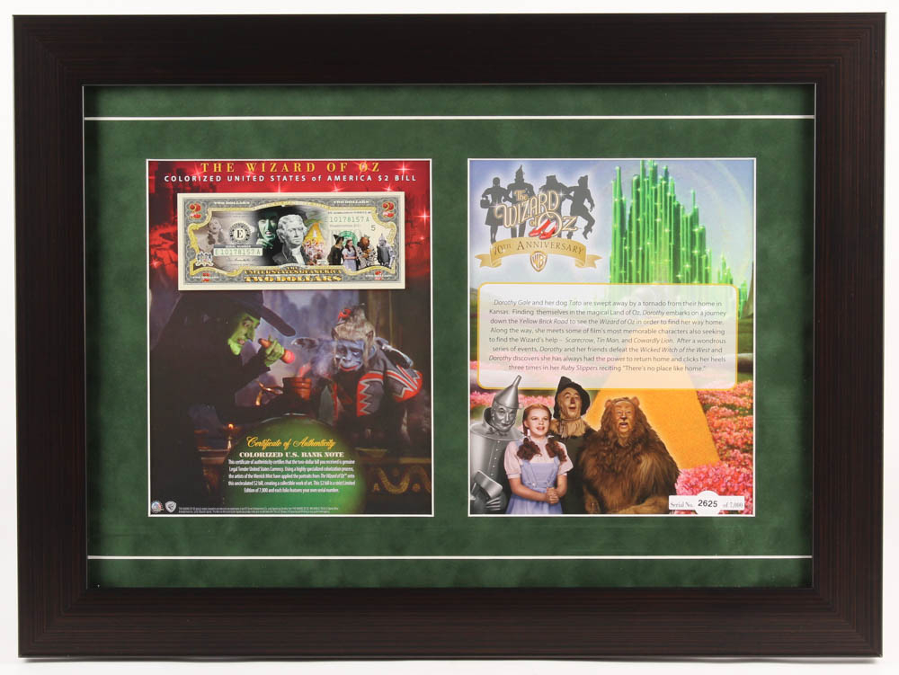 The Wizard of Oz 17.5x23.5 Custom Framed Display with Colorized LE $2 Dollar Bill at PristineAuction.com