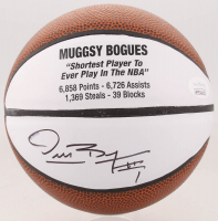 Muggsy Bogues Signed Career Highlight Stat Mini Basketball (JSA COA)