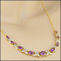9.87 CT Amethyst & Diamond Elegant Necklace