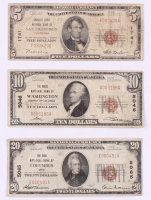 Lot of (3) 1929 U.S. National Currency Bank Notes with $20, $10 & $5