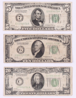 Lot of (3) 1928 U.S. Federal Reserve Notes with $20, $10 & $5