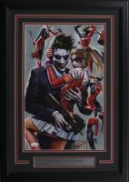 """Greg Horn Signed """"Harley Quinn & Joker"""" 17x25 Custom Framed Lithograph Display (JSA COA)"""