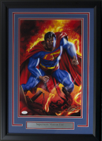 "Greg Horn Signed ""Superman"" 17x25 Custom Framed Lithograph Display (JSA COA)"