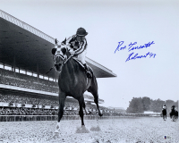 """Ron Turcotte Signed 16x20 Photo Inscribed """"Belmont 73"""" (Beckett COA)"""