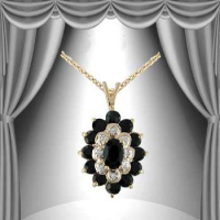 6.22 CT Black Sapphire & Diamond Elegant Necklace