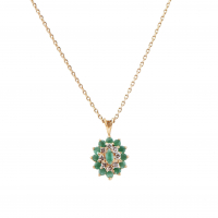 3.38 CT Emerald & Diamond Elegant Necklace