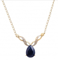 4.18 CT Black Sapphire & Diamond Elegant Necklace