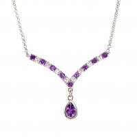 6.27 CT Amethyst & White Topaz Elegant Designer Necklace