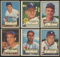Lot of (6) 1952 Topps Baseball Cards with #253 Johnny Berardino, #266 Murry Dickson, #264 Roy Hartsfield, #270 Lou Brissie
