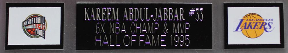 fbf3e907d11 Kareem Abdul-Jabbar Signed Los Angeles Lakers 35x43 Custom Framed Jersey (Beckett  COA)