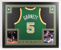 "Kevin Garnett Signed Boston Celtics 35x43 Custom Framed Jersey Inscribed ""08 NBA Champ"" (PSA COA)"