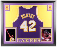 James Worthy Signed Los Angeles Lakers 35x43 Custom Framed Jersey (JSA COA)