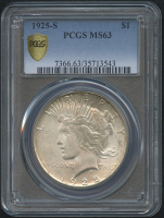 1925-S $1 Peace Silver Dollar (PCGS MS 63)