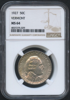 1927 50¢ Vermont Sesquicentennial Half Dollar Commemorative Coin (NGC MS 64)