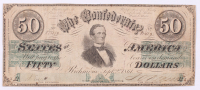 1861 $50 Fifty Dollar Confederate States of America Richmond CSA Bank Note