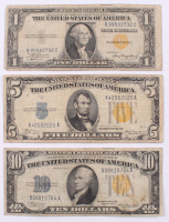 Lot of (3) North Africa Gold Seal Silver Certificate Bank Notes with $10, $5 & $1
