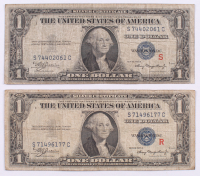 R & S Experimental Pair of 1935-A $1 One Dollar Silver Certificate Bank Notes