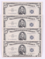 Lot of (4) 1953-A $5 Five Dollar Silver Certificate Bank Notes with Consecutive Serial Numbers