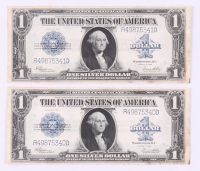 Lot of (2) 1923 $1 One Dollar Blue Seal Large Size Silver Certificate Bank Note Bills with Consecutive Serial Numbers
