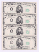 Lot of (4) 1950-B $5 Five Dollars Federal Reserve Bank Note Bills with Consecutive Serial Numbers