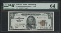 1929 $50 Fifty Dollars Federal Reserve Bank Note - FRBN - Kansas City (PMG 64)