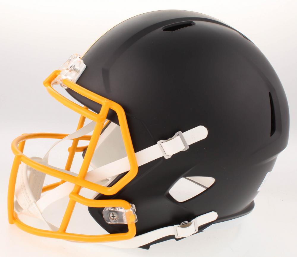 93c1a4030c7 JuJu Smith-Schuster Signed Pittsburgh Steelers Full-Size Custom Matte Black  Speed Helmet (