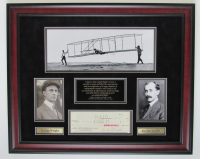 Orville Wright Signed 21x26 Custom Framed Personal Check Display (JSA LOA)