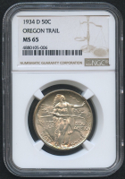 1934-D 50¢ Oregon Trail Memorial Silver Half Dollar Commemorative Coin (NGC MS 65)